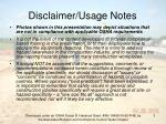 disclaimer usage notes