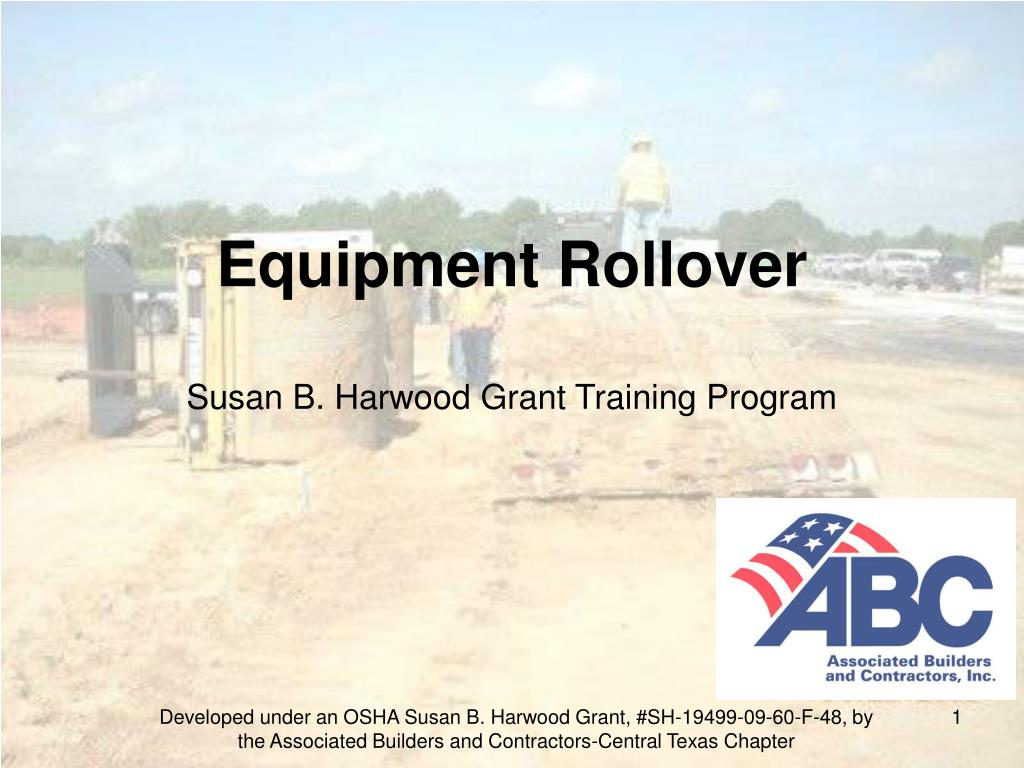 equipment rollover susan b harwood grant training program l.