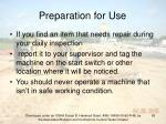 preparation for use65
