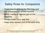 safety rules for compactors