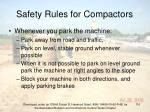 safety rules for compactors110