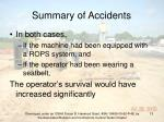 summary of accidents