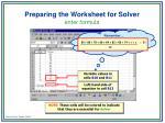 preparing the worksheet for solver8