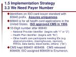 1 5 implementation strategy 3 3 we need payer number