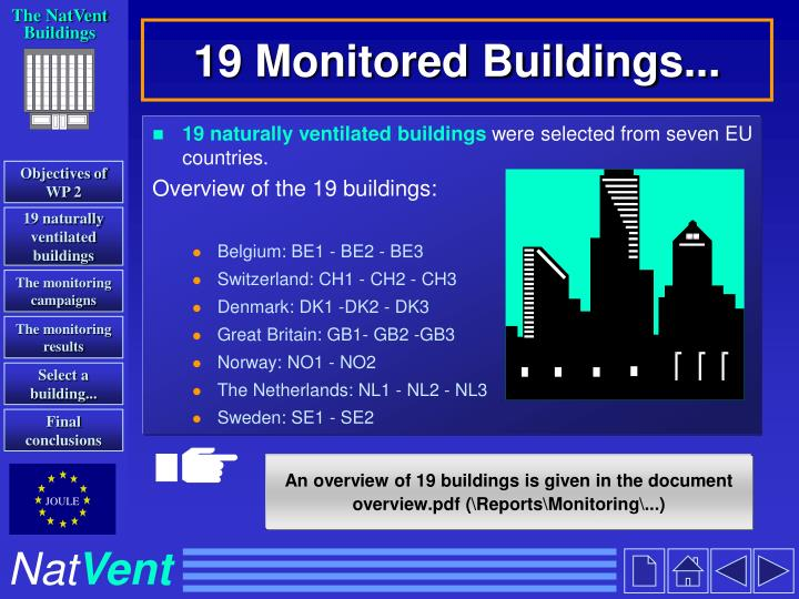 19 monitored buildings