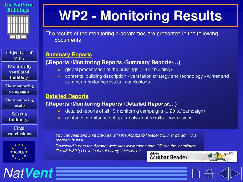 WP2 - Monitoring Results