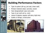 building performance factors