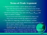 terms of trade argument