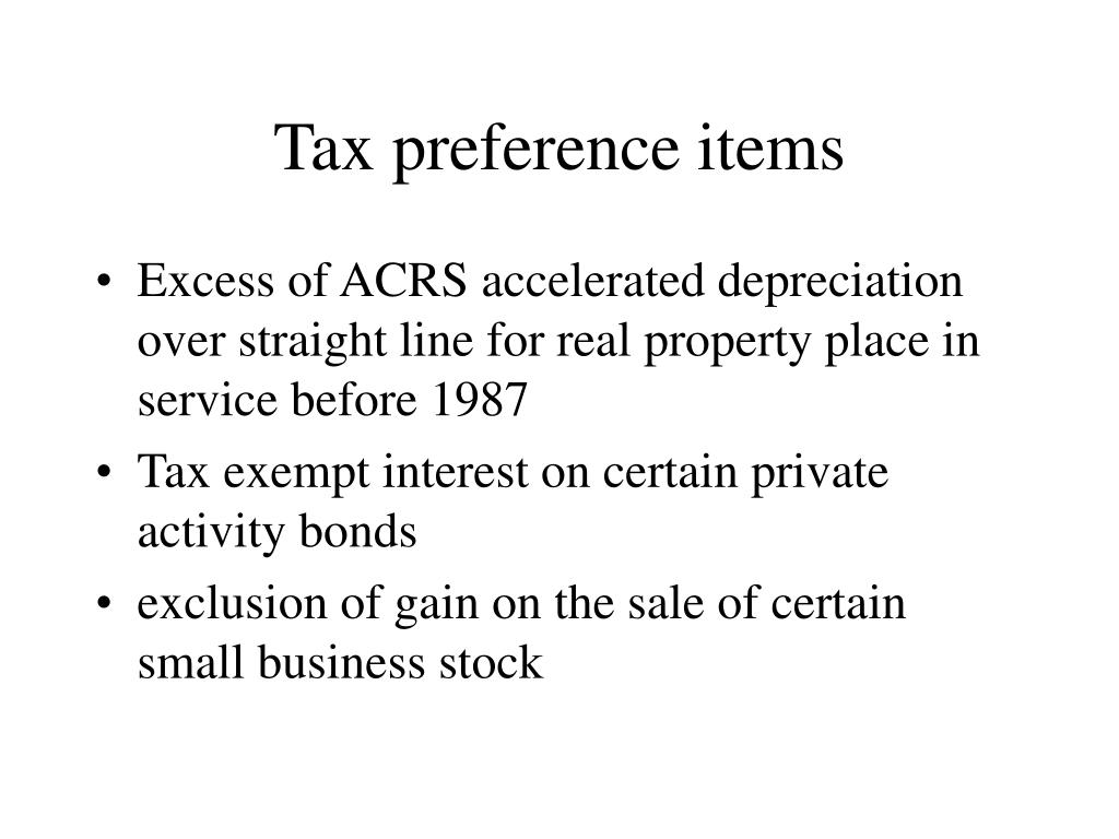 Tax preference items