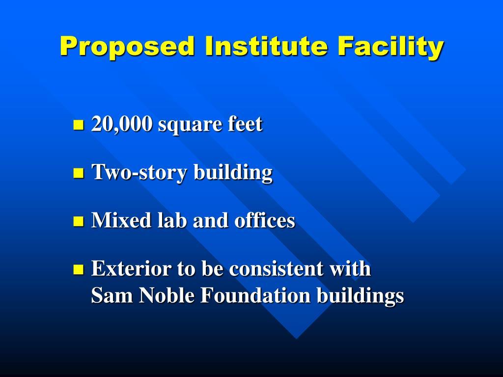 Proposed Institute Facility