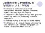 guidelines for competency in application of s i theory