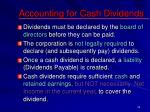accounting for cash dividends