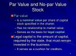 par value and no par value stock
