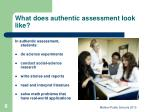 what does authentic assessment look like
