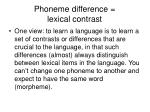 phoneme difference lexical contrast