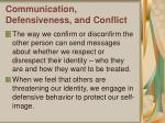 communication defensiveness and conflict