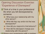 opening discussion exercise experience of disrespect
