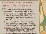 step one recognizing their identity needs