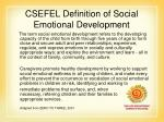 csefel definition of social emotional development