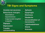 tbi signs and symptoms