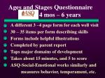 ages and stages questionnaire asq 4 mos 6 years