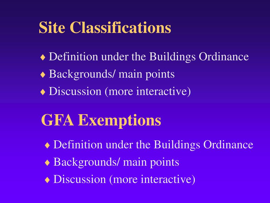 Site Classifications