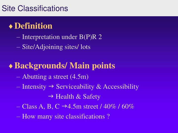 Site classifications3