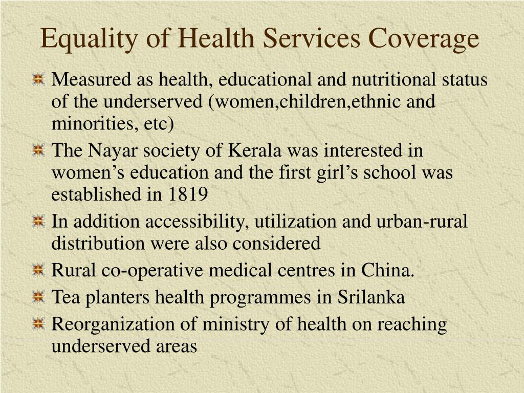 Equality of Health Services Coverage