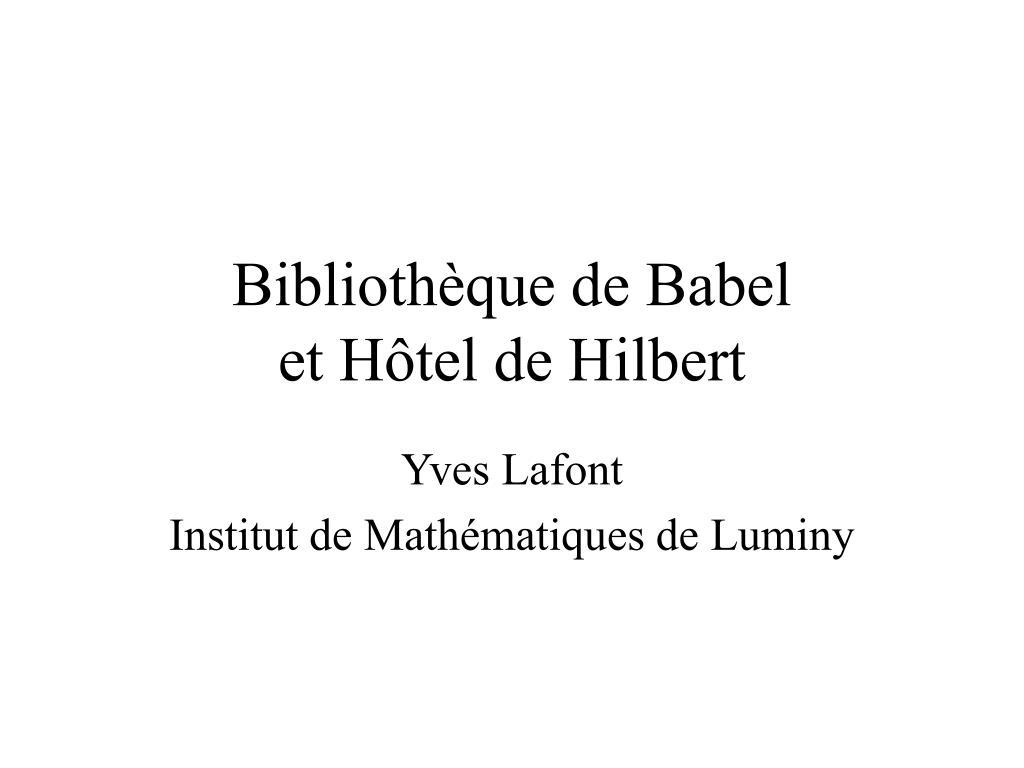 biblioth que de babel et h tel de hilbert l.