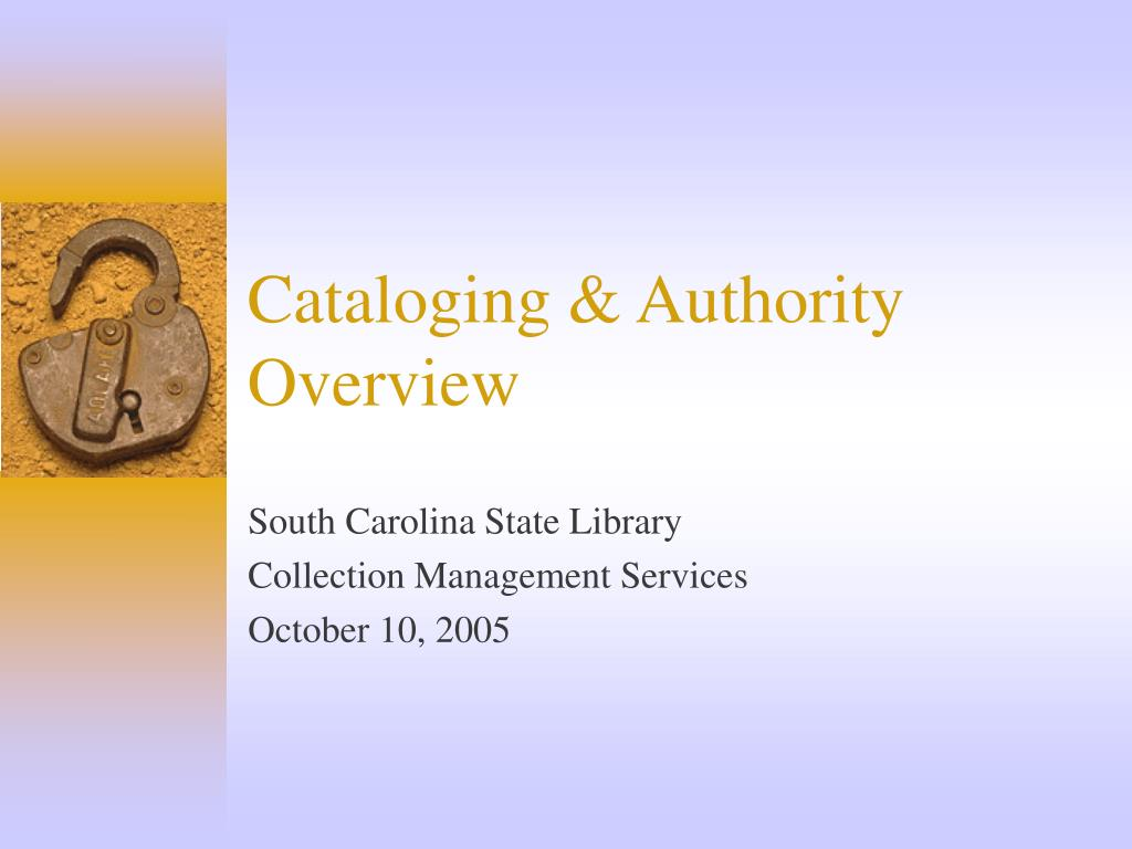cataloging authority overview l.