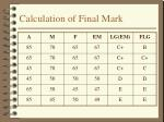 calculation of final mark