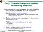 easy flexible componentization of existing software