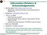 information pointers acknowledgements