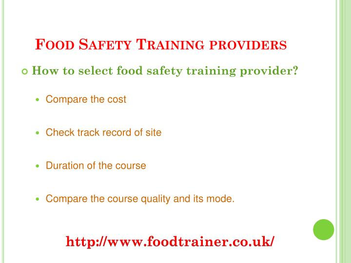 Food safety training providers3