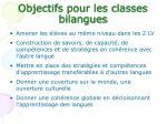 objectifs pour les classes bilangues