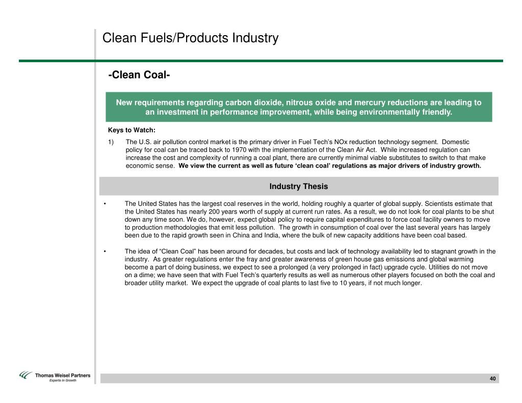 Clean Fuels/Products Industry