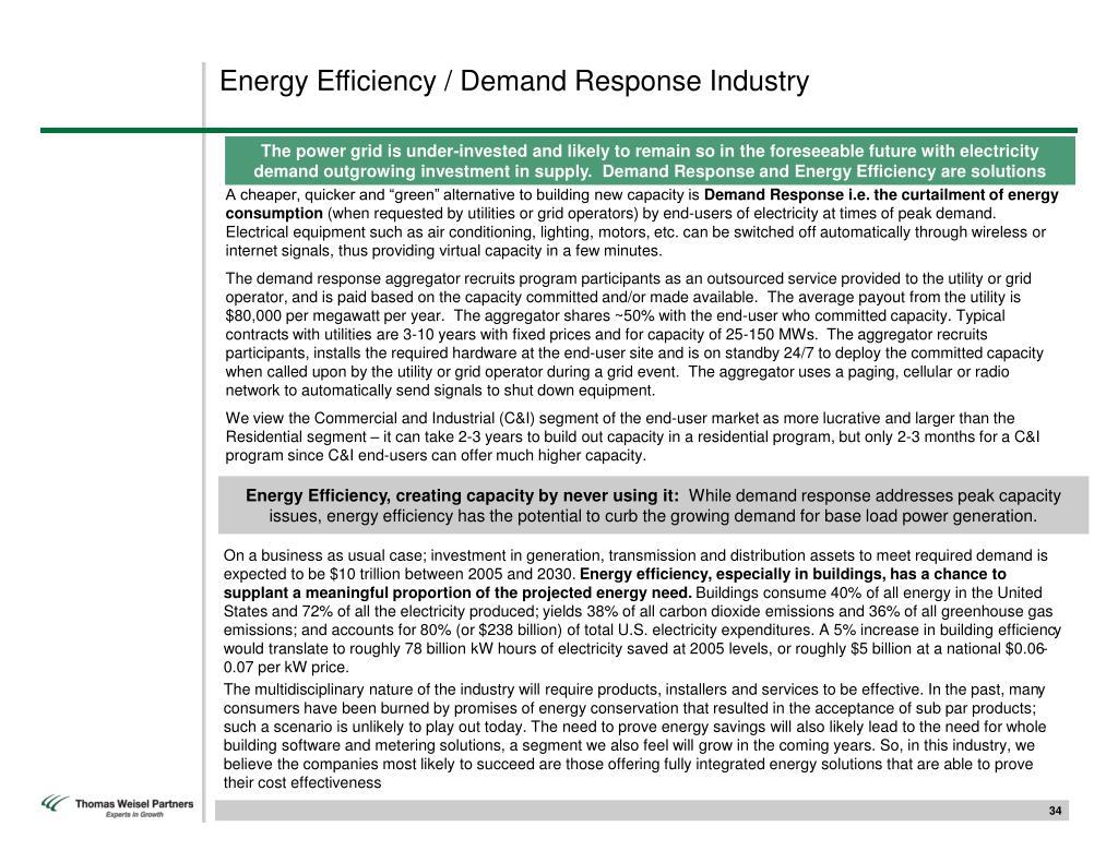 Energy Efficiency / Demand Response Industry