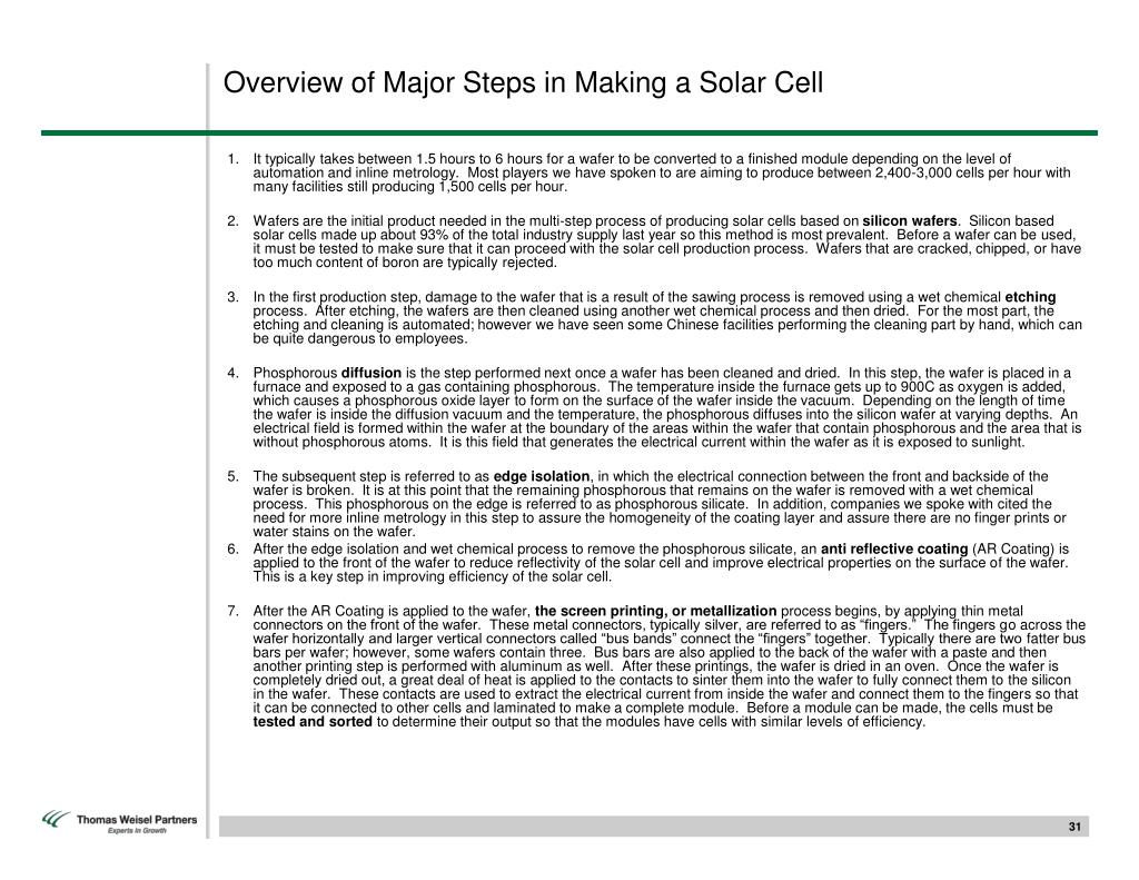 Overview of Major Steps in Making a Solar Cell