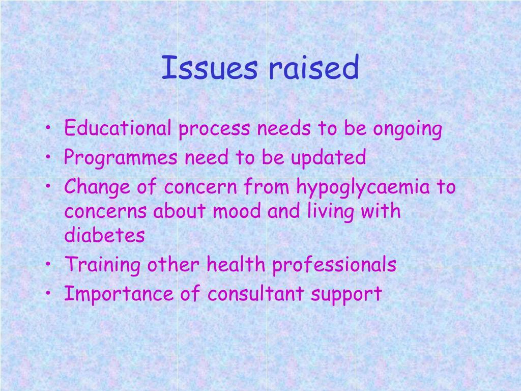 Issues raised