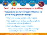 govt role in promoting green building