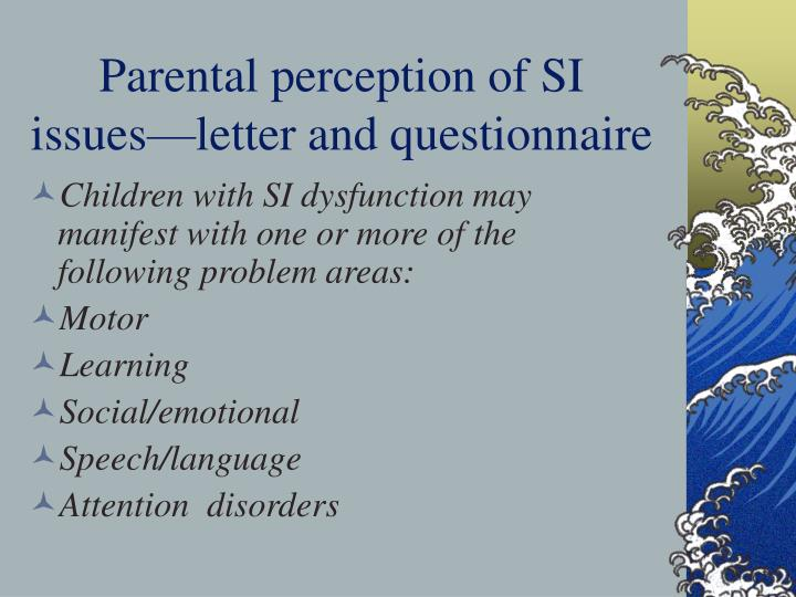 Parental perception of SI issues—letter and questionnaire