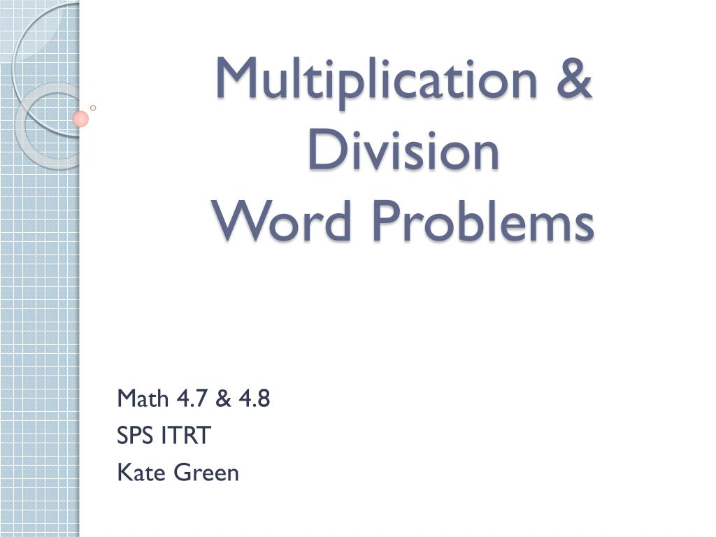 multiplication division word problems l.