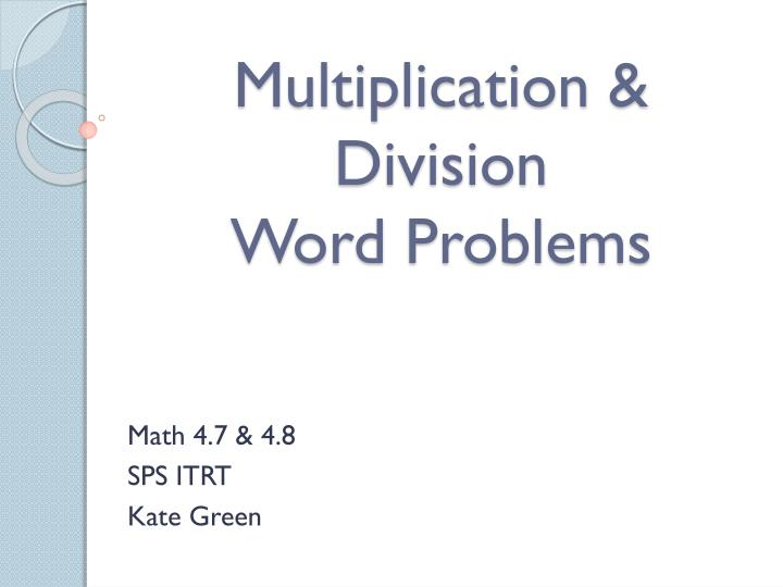 Multiplication division word problems