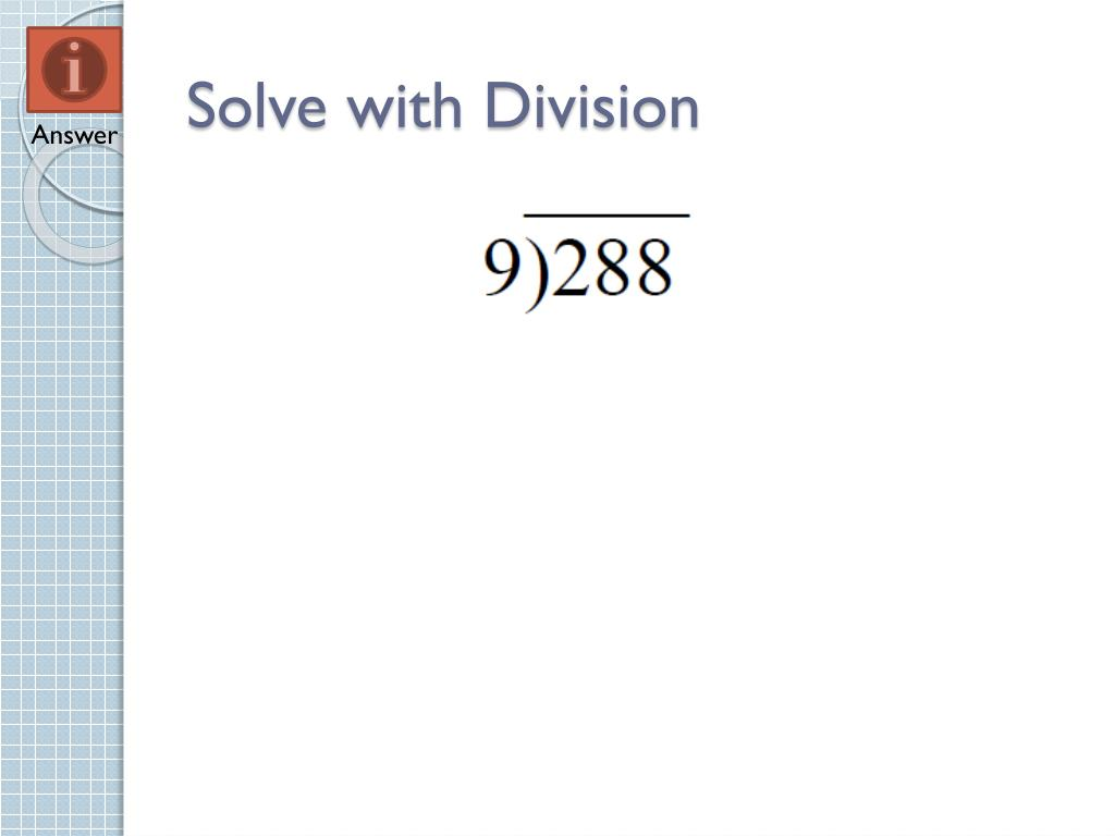 Solve with Division