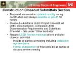 construction closeout submittals section