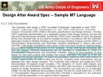 design after award spec sample mt language