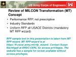 review of milcon transformation mt concept