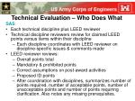 technical evaluation who does what
