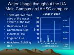 water usage throughout the ua main campus and ahsc campus