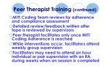 peer therapist training continued